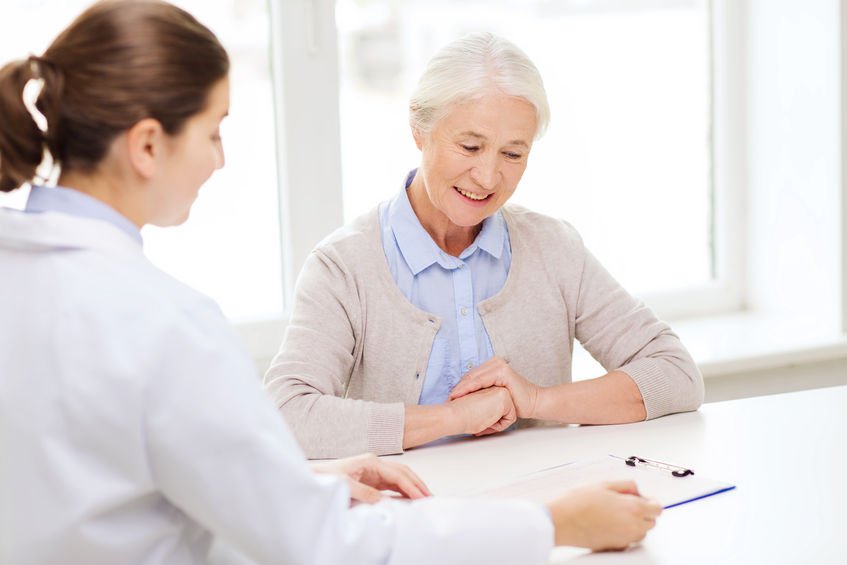 elderly woman at her medicare annual wellness visit